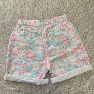 Hunt Club Shorts - VTG floral denim high waist mom shorts pink 30